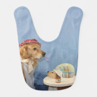 Golden Retriever Mother Feeding Baby Baby Bib