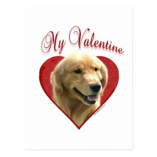 Golden Retriever My Valentine Postcard