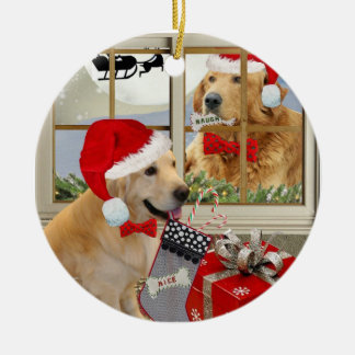 "Golden Retriever ""Naughty Or Nice"" Ornament"