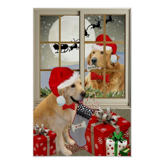"Golden Retriever ""Naughty Or Nice""  Prints"