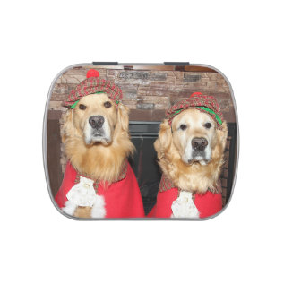 Golden Retriever Old Fashioned Christmas Jelly Belly Candy Tin at Zazzle