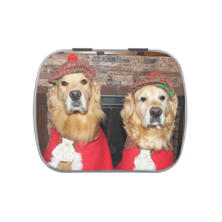 Golden Retriever Old Fashioned Christmas Jelly Belly Candy Tin