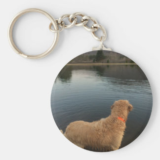 Golden Retriever on a Rock at the Lake Keychain