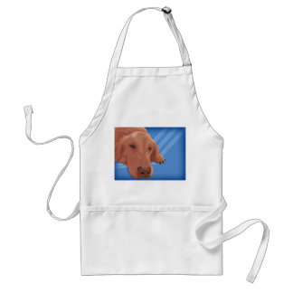 Golden Retriever on Blue Background - Vector Art Adult Apron
