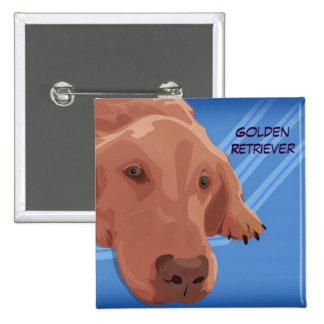 Golden Retriever on Blue Background - Vector Art Pinback Button
