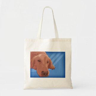 Golden Retriever on Blue Background - Vector Art Tote Bag