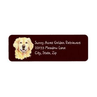 Golden retriever original de la acuarela, mascota  etiqueta de remite
