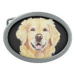 Golden retriever original de la acuarela, mascota  hebillas de cinturón ovales