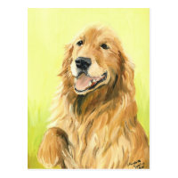 Golden Retriever Original Dog Art Postcard