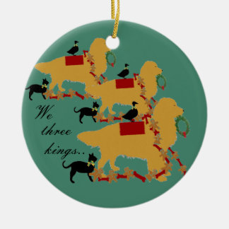 Golden Retriever Ornament~ We three Kings Double-Sided Ceramic Round Christmas Ornament