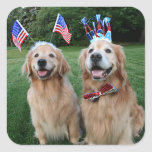 Golden Retriever Outdoor Independence Day Square Sticker