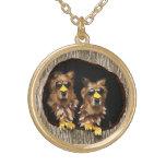 Golden Retriever Owls Gold Plated Necklace