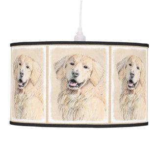 Golden Retriever Painting - Cute Original Dog Art Pendant Lamp