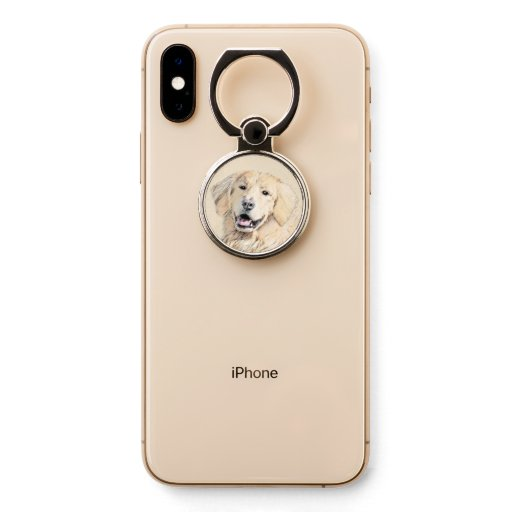 Golden Retriever Painting - Cute Original Dog Art Phone Ring Stand