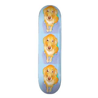 Golden retriever painting fun pet portrait dog art skateboard