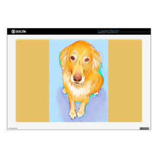 "Golden retriever painting fun pet portrait dog art 17"" laptop decal"