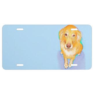Golden retriever painting original dog art fun license plate