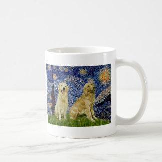 Golden Retriever Pair 3 - Starry Night Coffee Mugs