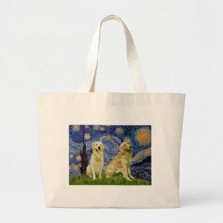 Golden Retriever Pair 3 - Starry Night Large Tote Bag