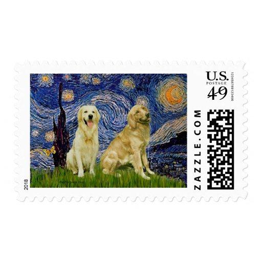 Golden Retriever Pair 3 - Starry Night Stamps