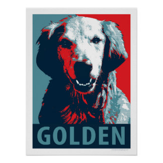 Golden Retriever Patriotic Political Parody Poster