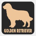 Golden retriever pegatina cuadrada