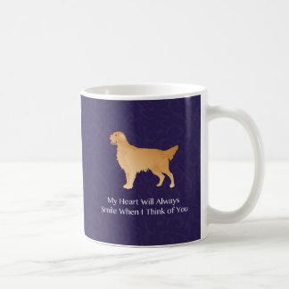 Golden retriever - pensamiento conmemorativo del taza de café