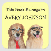 Golden Retriever Personalized Bookplate