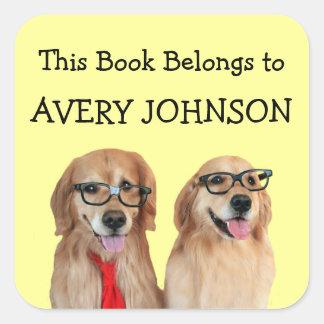 Golden Retriever Personalized Bookplate Square Sticker