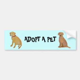 Golden Retriever Pet Adoption Bumper Sticker Car Bumper Sticker