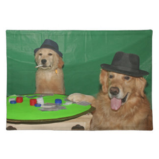 Golden Retriever Poker Pups Placemat