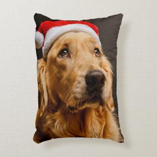 Golden Retriever posing for his Christmas Decorative Pillow