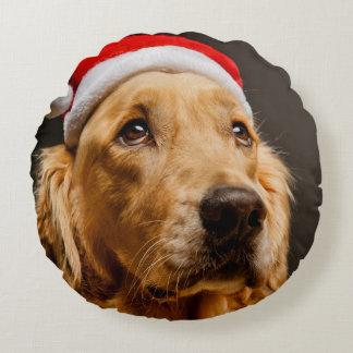Golden Retriever posing for his Christmas Round Pillow