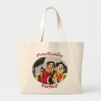 Golden Retriever Practically Perfect Nanny Large Tote Bag