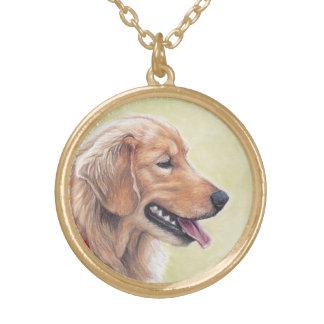 Golden Retriever Profile Dog art Necklace