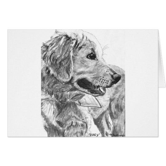 Golden Retriever Pup Drawing Card