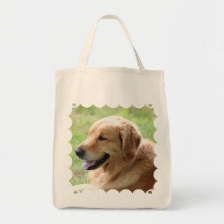 Golden Retriever Pup Grocery Tote Bag