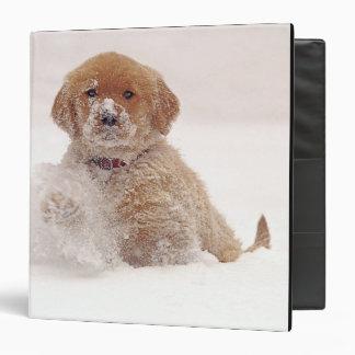 Golden Retriever Pup in Snow 3 Ring Binder