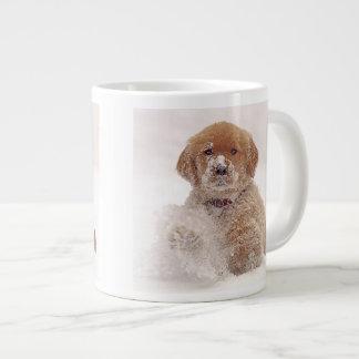 Golden Retriever Pup in Snow Giant Coffee Mug