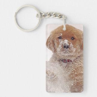 Golden Retriever Pup in Snow Keychain