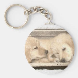 Golden Retriever Puppies Basic Round Button Keychain