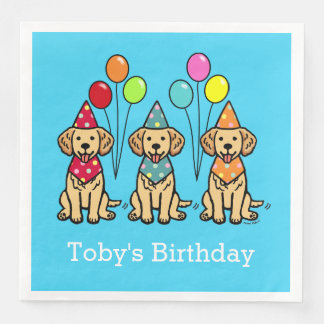 Golden Retriever Puppies Birthday Paper Napkins