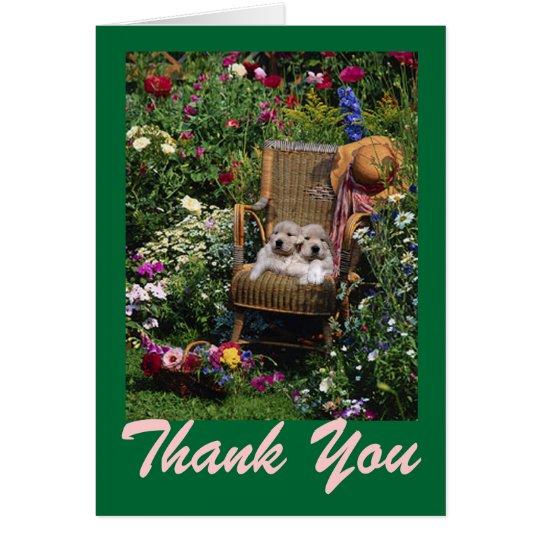 Golden Retriever Puppies Garden Thank You Card