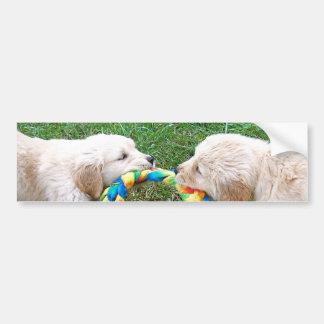 Golden Retriever Puppies Play Tug Of War Bumper St Bumper Sticker