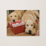 Golden retriever puppies with christmas gift jigsaw puzzles
