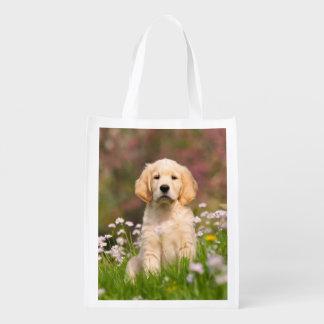 Golden Retriever puppy a cute Goldie Reusable Grocery Bag
