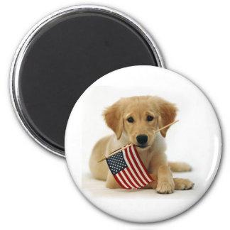 Golden Retriever Puppy and Flag 2 Inch Round Magnet