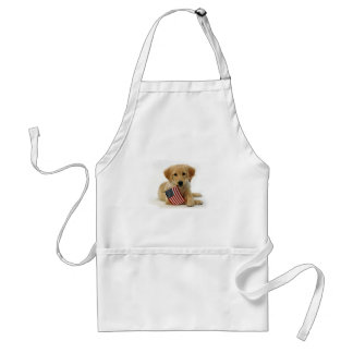 Golden Retriever Puppy and Flag Adult Apron