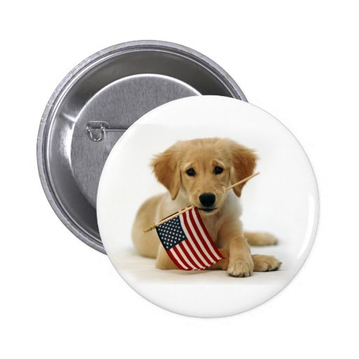 Golden Retriever Puppy and Flag Buttons