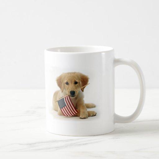 Golden Retriever Puppy and Flag Coffee Mug